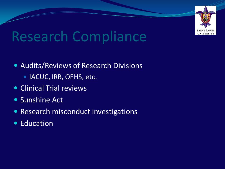 Research Compliance Audits/Reviews of Research Divisions