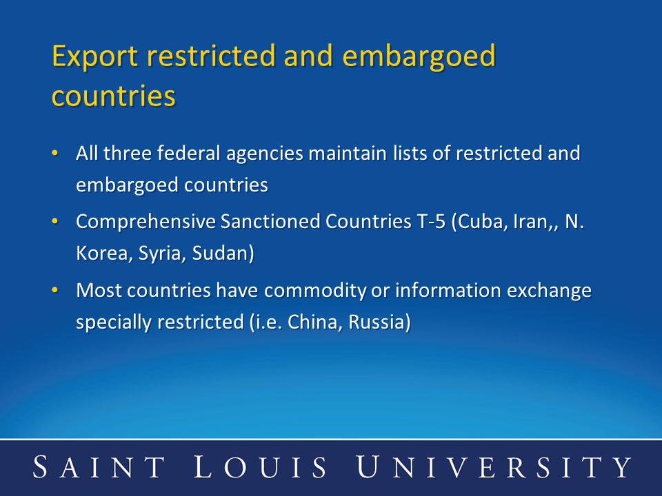 Export restricted and embargoed countries