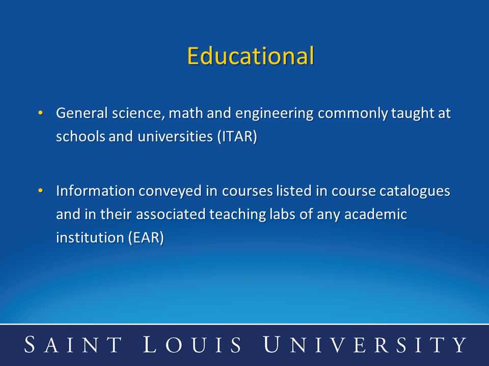 Educational General science, math and engineering commonly taught at schools and universities (ITAR)