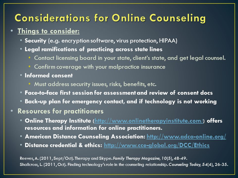 Considerations for Online Counseling