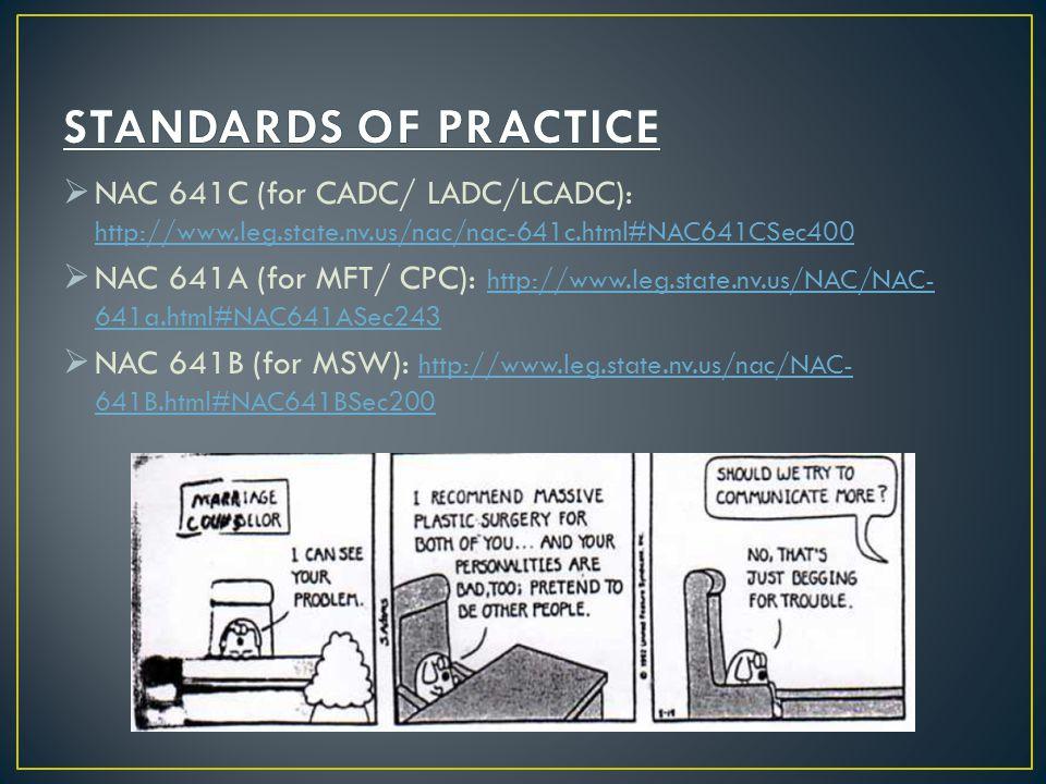 STANDARDS OF PRACTICE NAC 641C (for CADC/ LADC/LCADC): http://www.leg.state.nv.us/nac/nac-641c.html#NAC641CSec400.