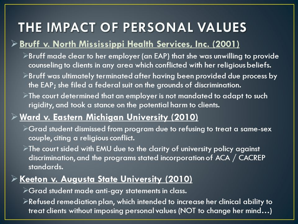 THE IMPACT OF PERSONAL VALUES