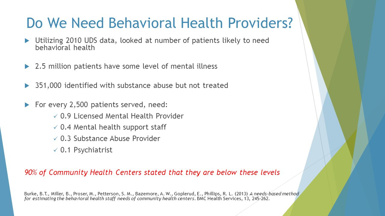 Do We Need Behavioral Health Providers