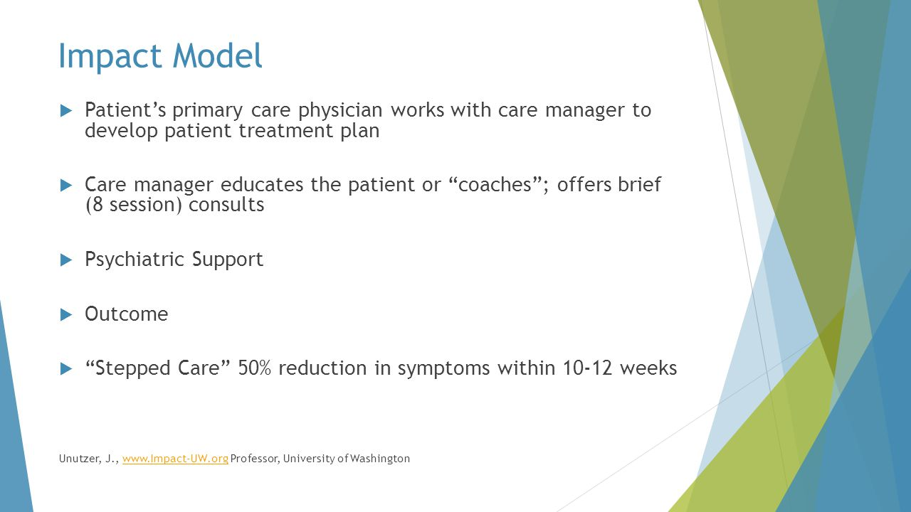 Impact Model Patient's primary care physician works with care manager to develop patient treatment plan.