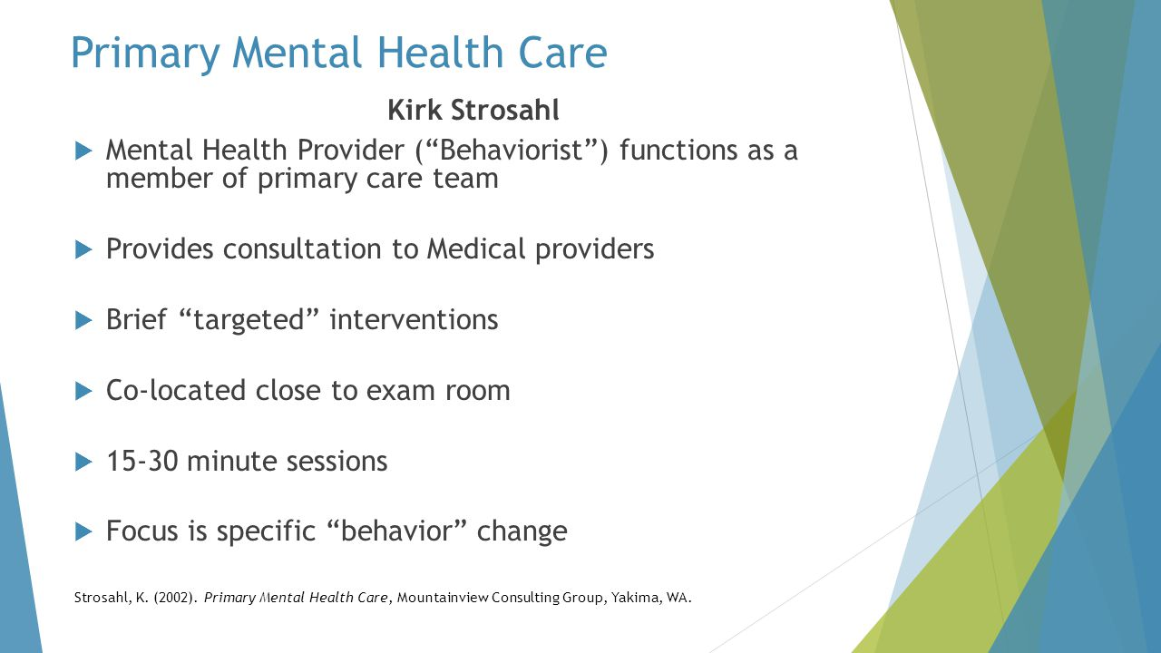 Primary Mental Health Care