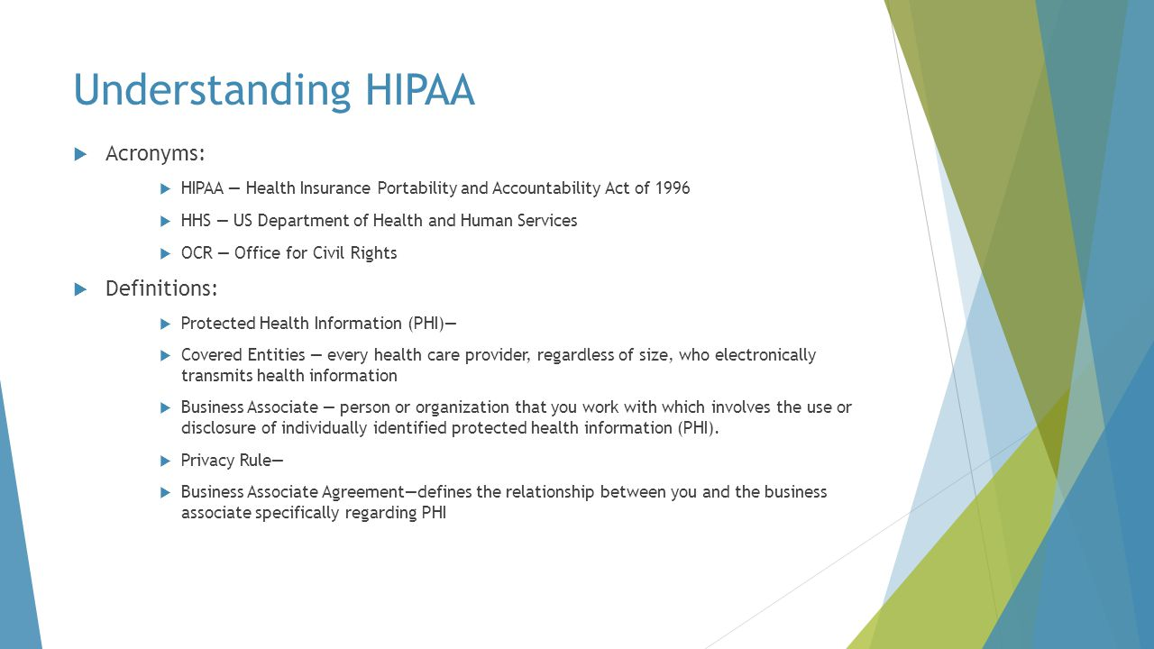 Understanding HIPAA Acronyms: Definitions:
