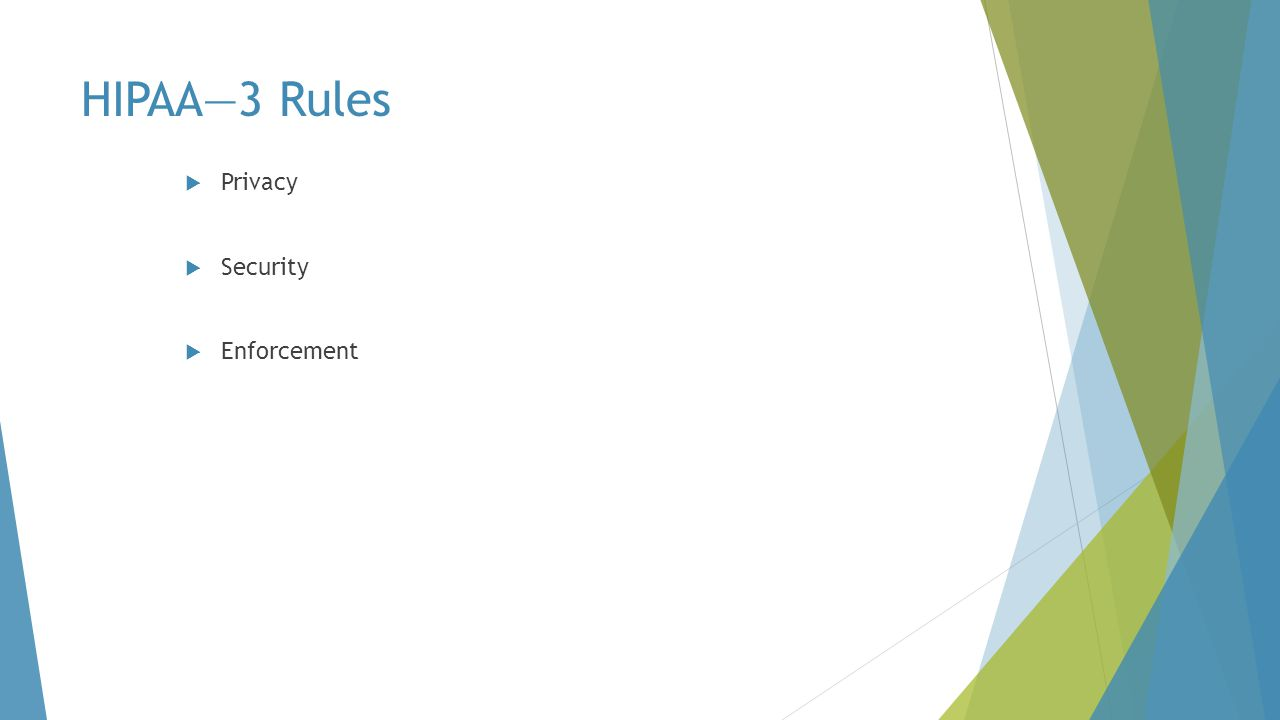 HIPAA—3 Rules Privacy Security Enforcement