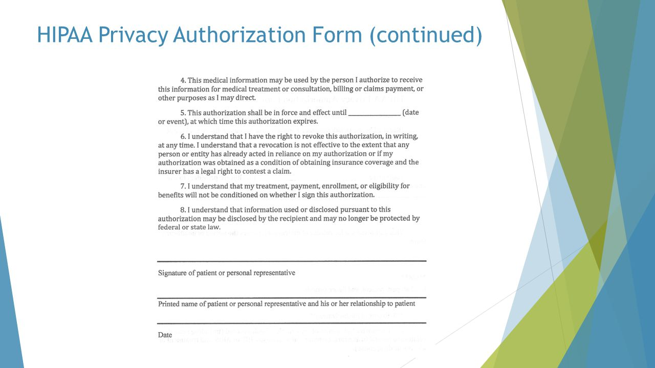 HIPAA Privacy Authorization Form (continued)