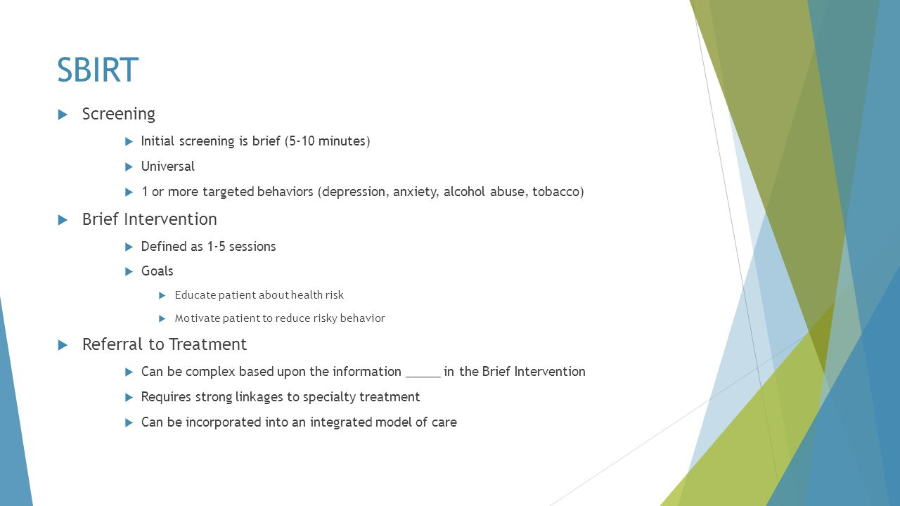 SBIRT Screening Brief Intervention Referral to Treatment