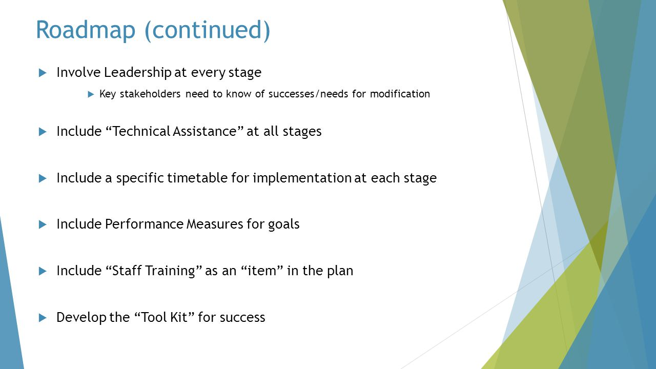 Roadmap (continued) Involve Leadership at every stage