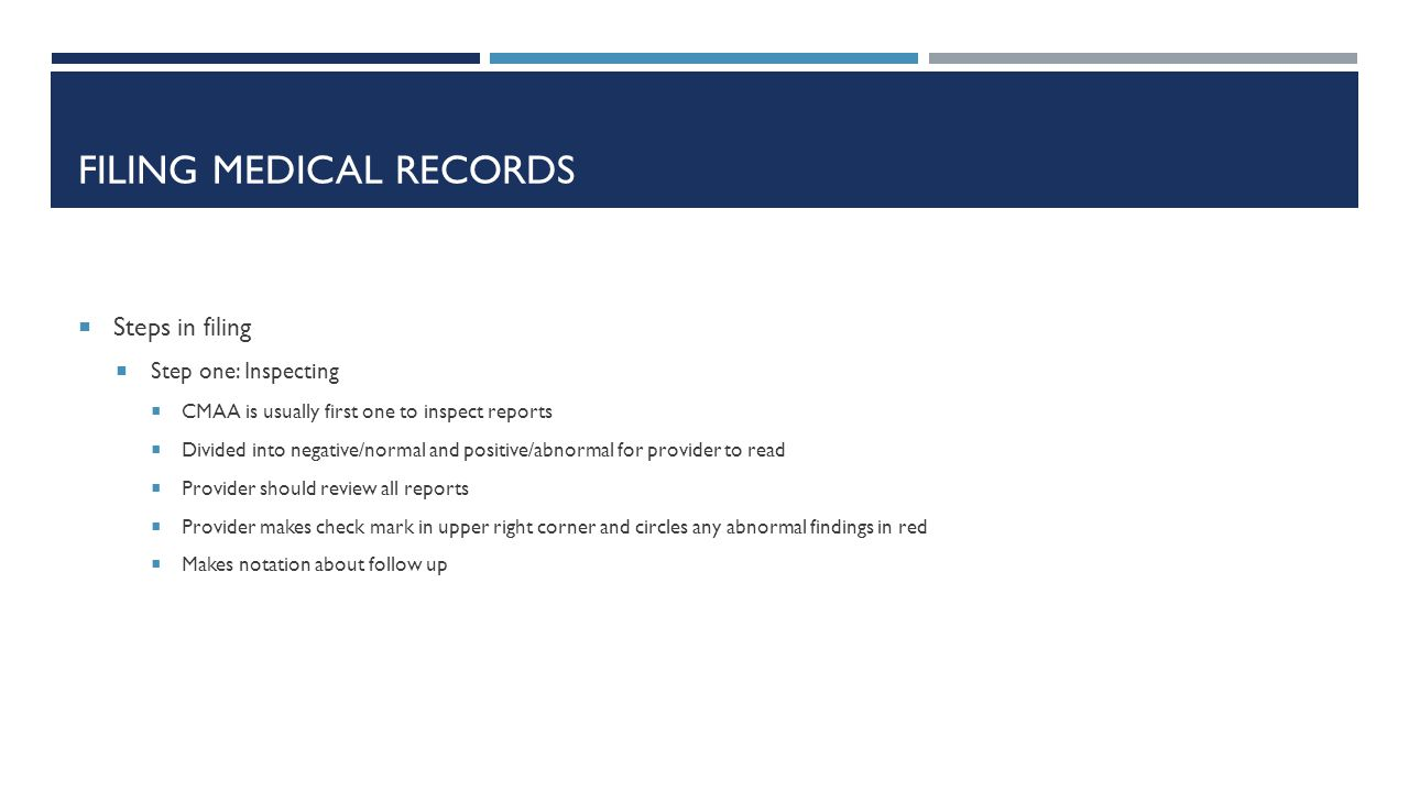 Filing medical records