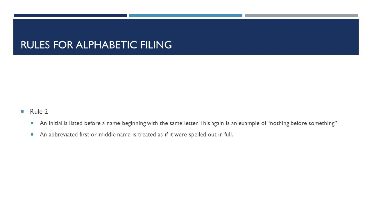 Rules for alphabetic filing