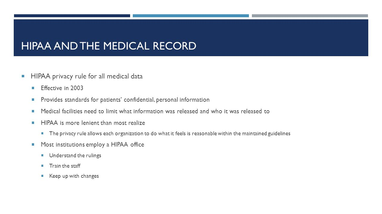 HIPAA and the medical record