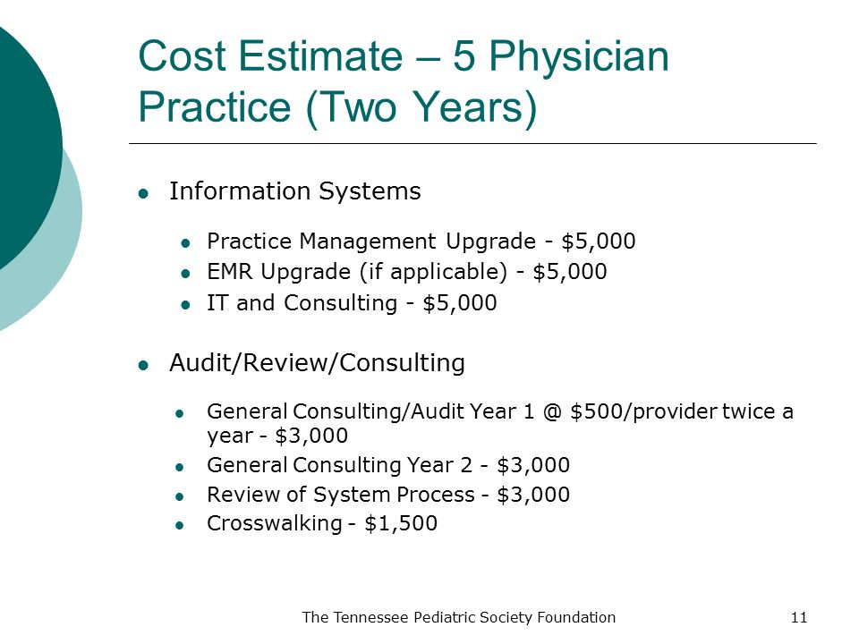 Cost Estimate – 5 Physician Practice (Two Years)