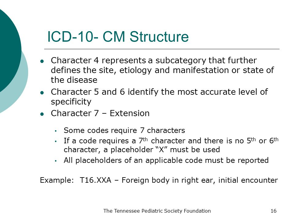 ICD-10- CM Structure Character 4 represents a subcategory that further defines the site, etiology and manifestation or state of the disease.