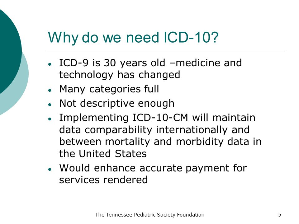 Why do we need ICD-10 ICD-9 is 30 years old –medicine and technology has changed. Many categories full.