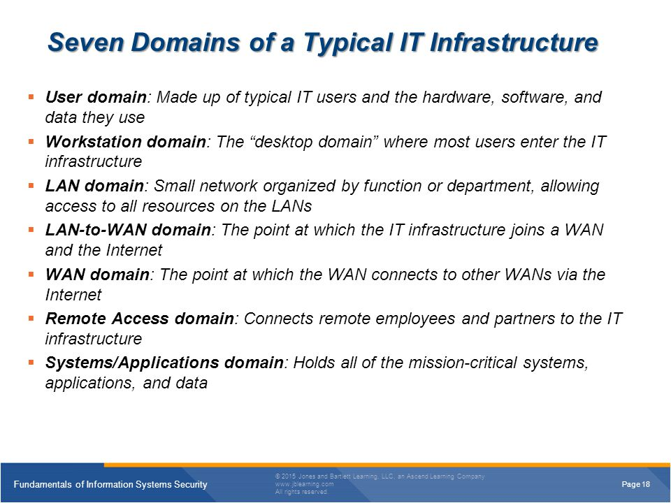 7 domains in it infrastructure most overall security Csa-guidance/domain 7- infrastructure securitymd  the most commonly used  network security patterns rely on control of the physical  networks enable new  types of security controls, often making it an overall gain for network security.