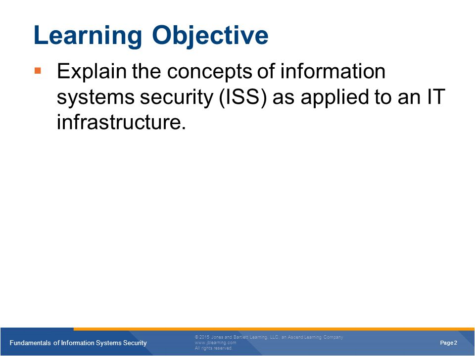 Learning Objective Explain the concepts of information systems security (ISS) as applied to an IT infrastructure.