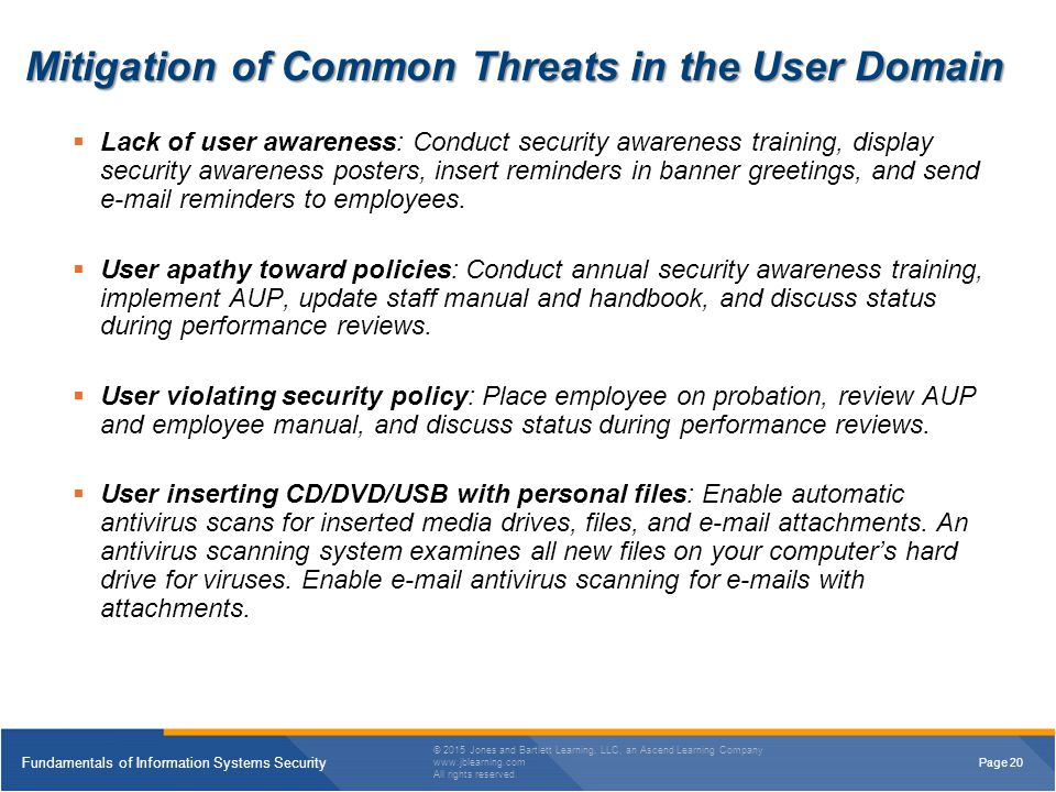 Mitigation of Common Threats in the User Domain