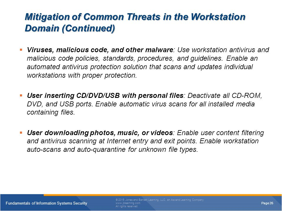Mitigation of Common Threats in the Workstation Domain (Continued)