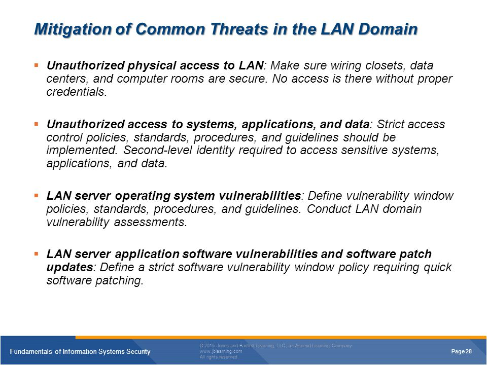 Mitigation of Common Threats in the LAN Domain