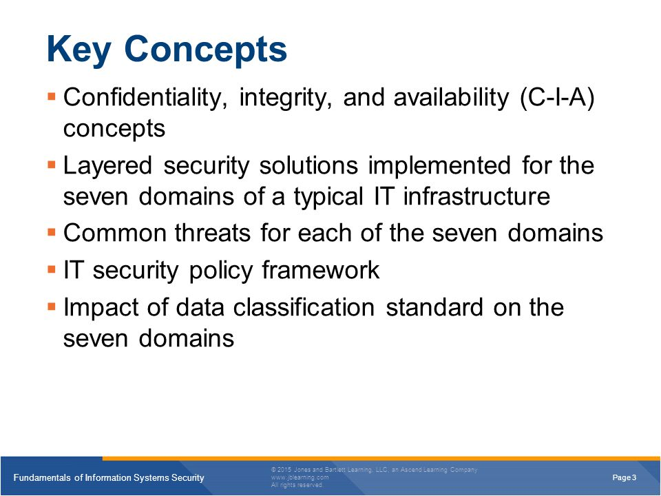 Key Concepts Confidentiality, integrity, and availability (C-I-A) concepts.