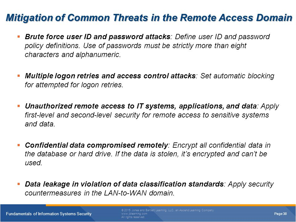 Mitigation of Common Threats in the Remote Access Domain