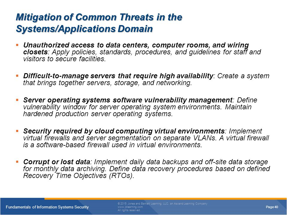 Mitigation of Common Threats in the Systems/Applications Domain