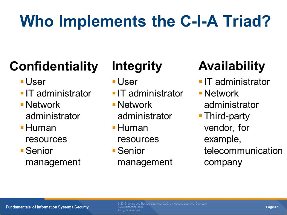 Who Implements the C-I-A Triad