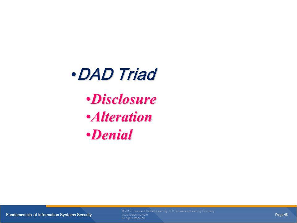 DAD Triad Disclosure Alteration Denial