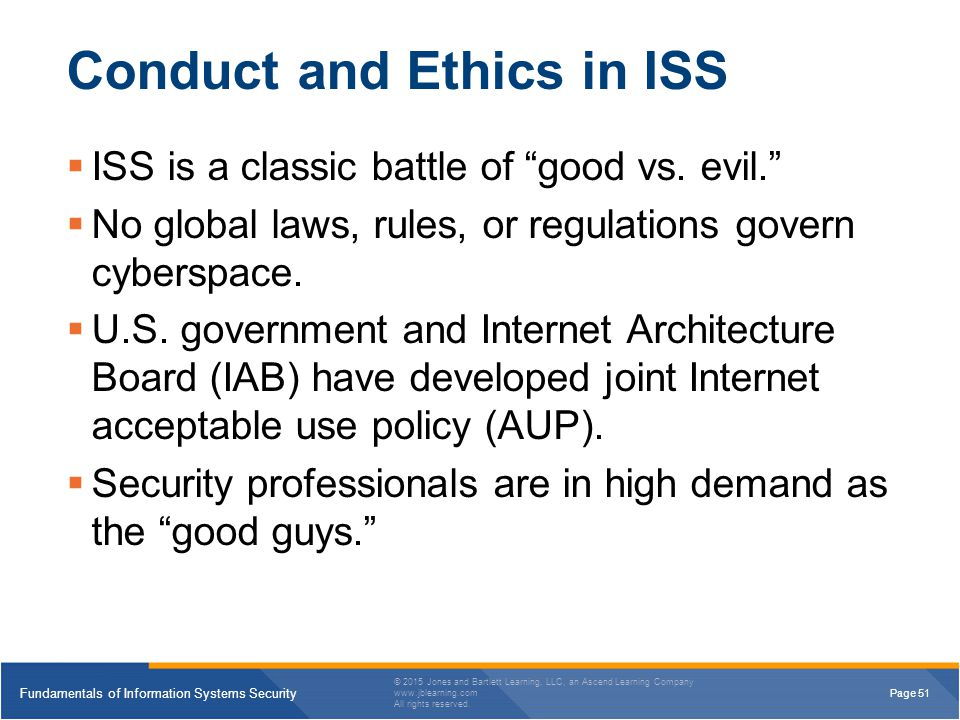 Conduct and Ethics in ISS