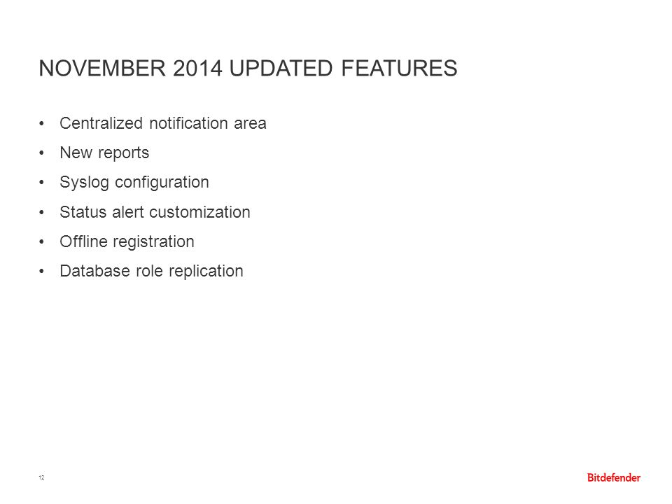 November 2014 updated features