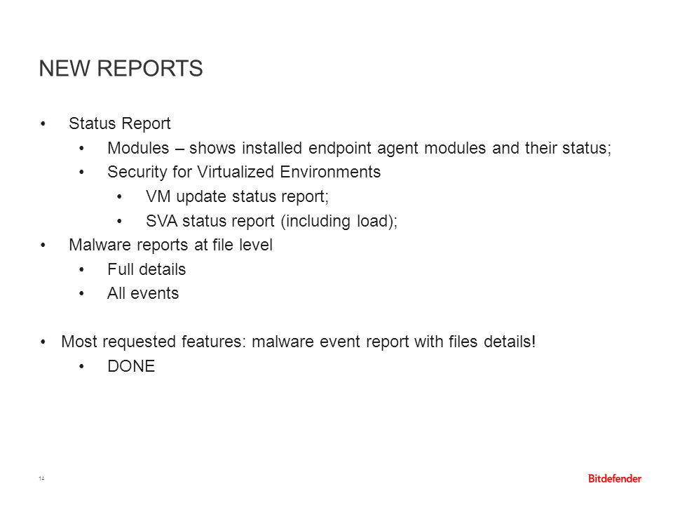 New Reports Status Report
