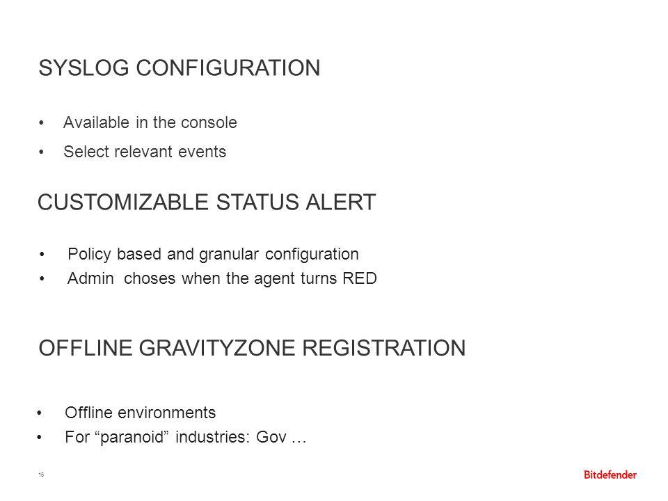 Customizable Status Alert