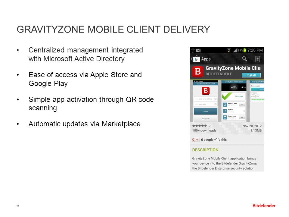 GravityZone Mobile Client delivery