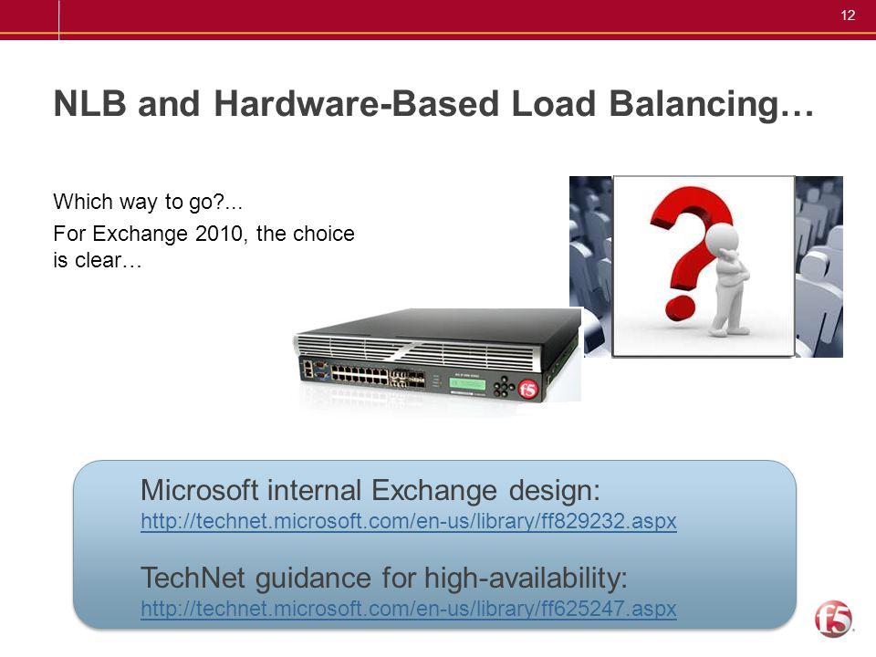 NLB and Hardware-Based Load Balancing…