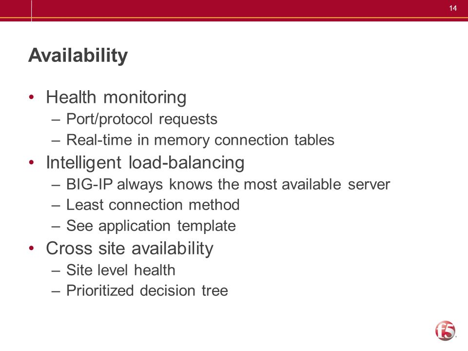 Availability Health monitoring Intelligent load-balancing