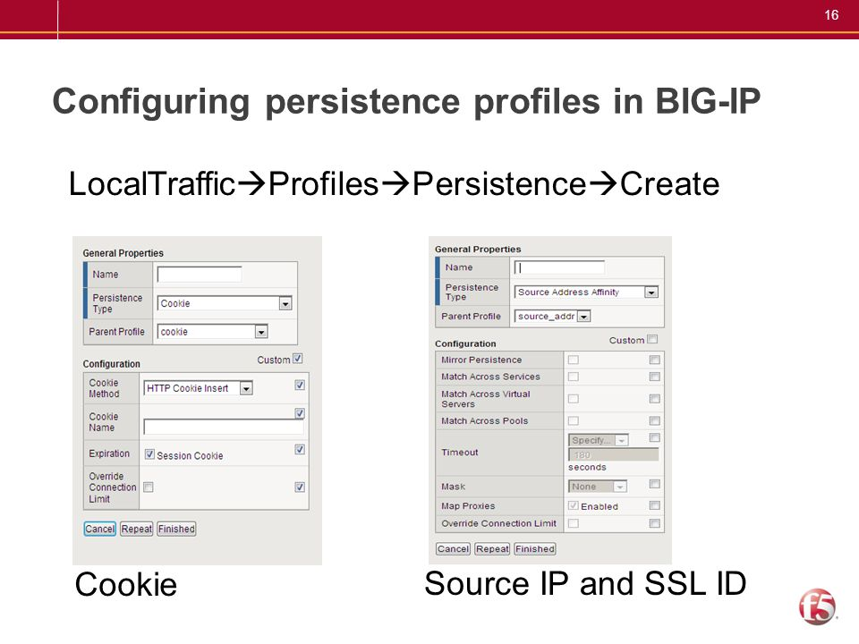 Configuring persistence profiles in BIG-IP