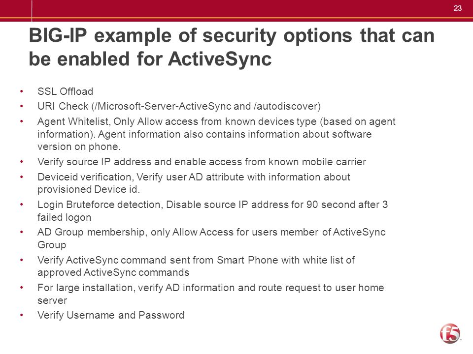 BIG-IP example of security options that can be enabled for ActiveSync