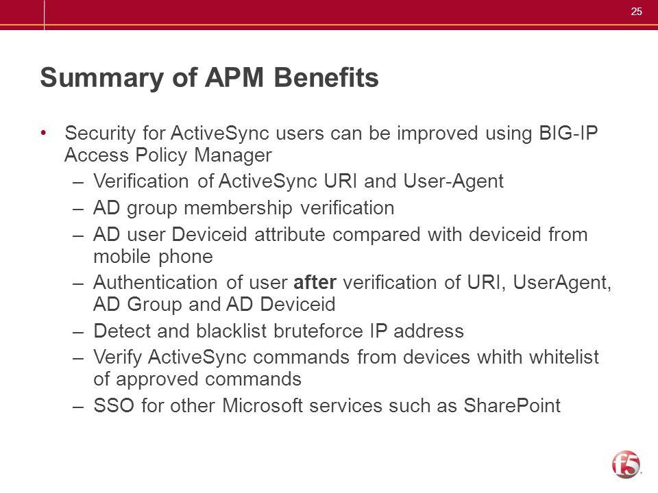 Summary of APM Benefits