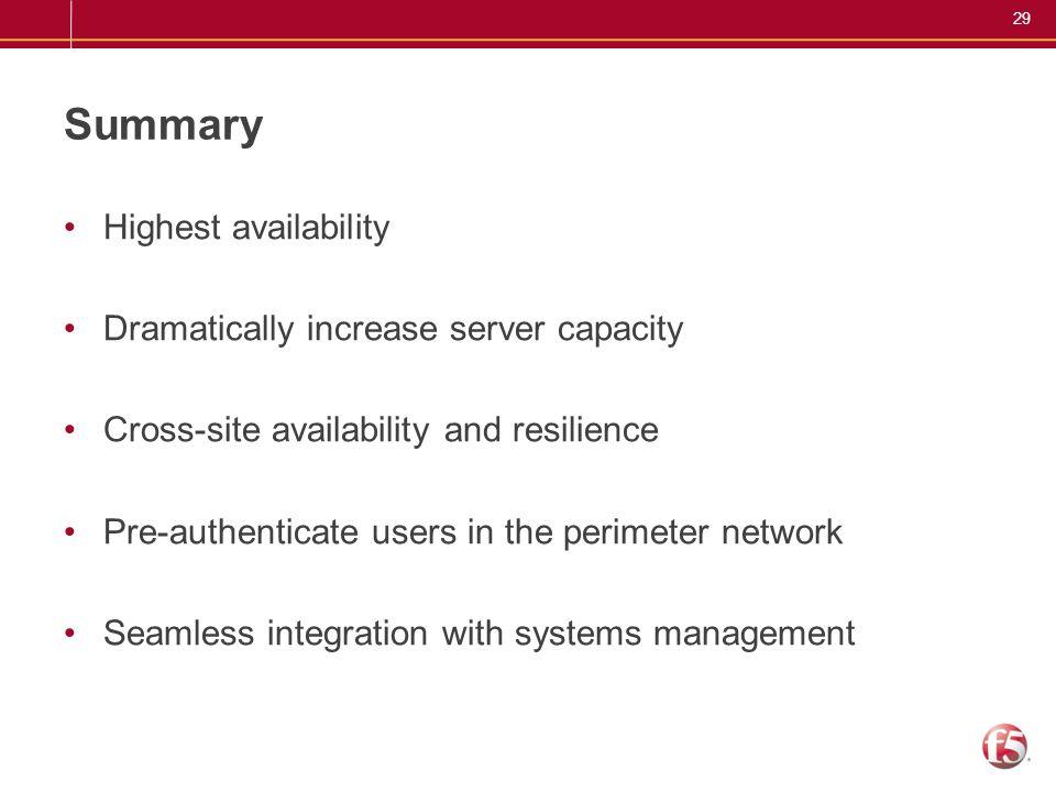Summary Highest availability Dramatically increase server capacity