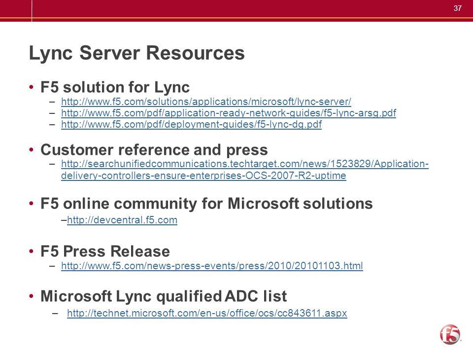 Lync Server Resources F5 solution for Lync