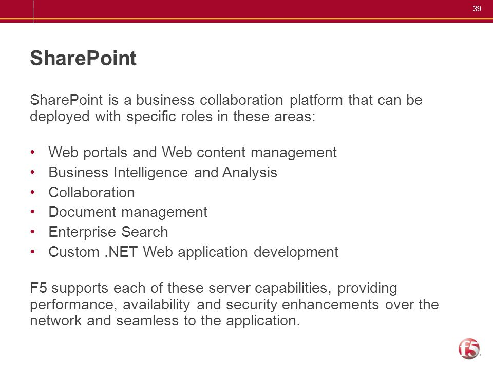 SharePoint SharePoint is a business collaboration platform that can be deployed with specific roles in these areas: