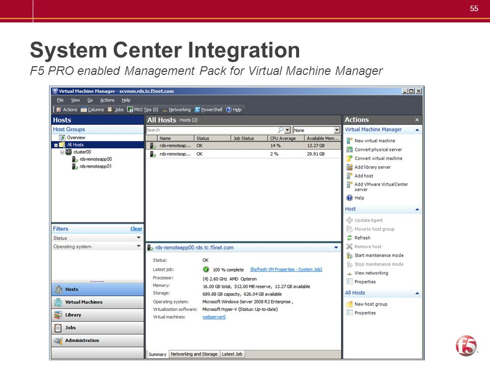 System Center Integration F5 PRO enabled Management Pack for Virtual Machine Manager