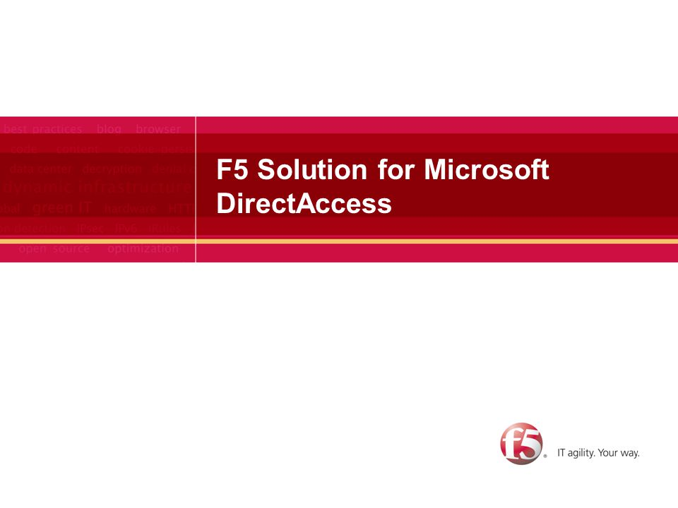 F5 Solution for Microsoft DirectAccess