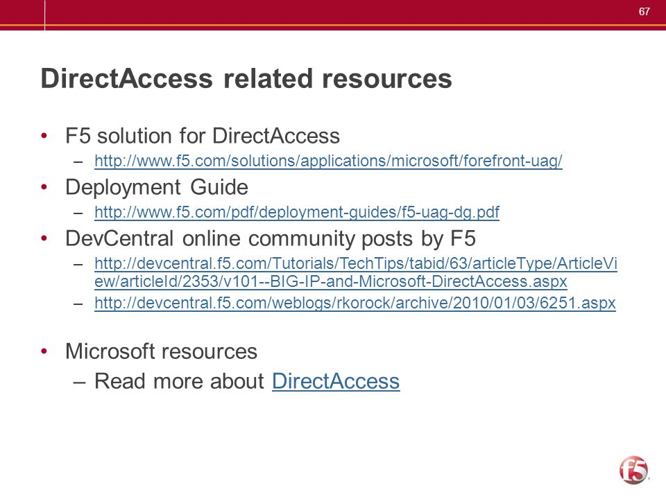 DirectAccess related resources