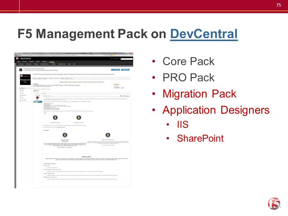 F5 Management Pack on DevCentral