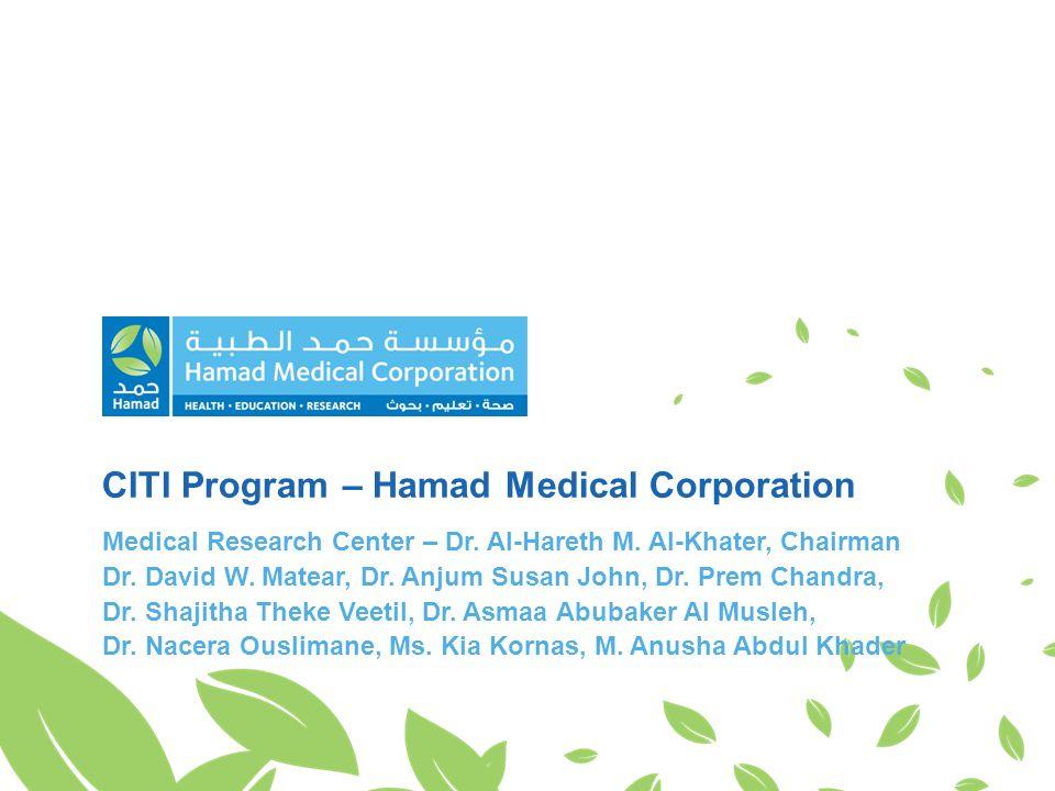 CITI Program – Hamad Medical Corporation