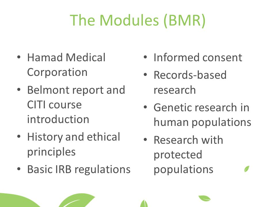 The Modules (BMR) Hamad Medical Corporation