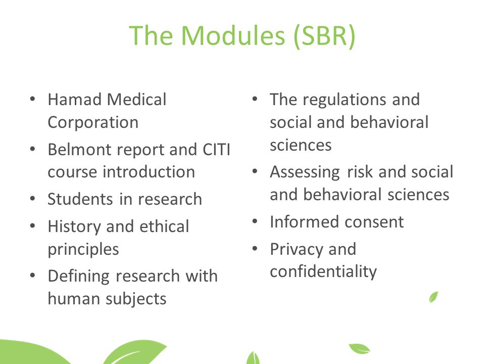 The Modules (SBR) Hamad Medical Corporation
